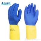 ansell2245氯丁橡膠耐酸堿防水工業手套防化防護手套耐洗滌劑加厚 俏girl