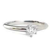 【奢華時尚】TIFFANY VVS2 PT950圓型六爪0.21克拉鑽石戒指(全新未使用)#23635
