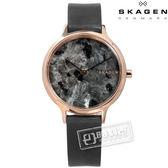 SKAGEN / SKW2672 / 北歐美學天然大理石紋礦石強化玻璃防水真皮手錶 銀灰x玫瑰金框 34mm