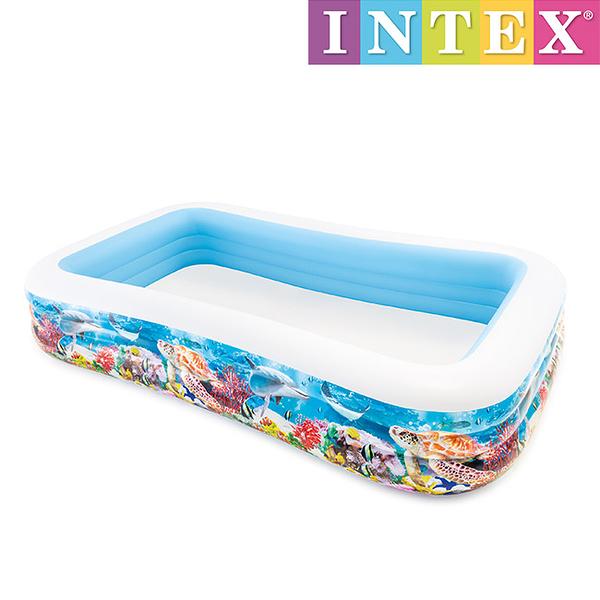 Intex 充氣泳池/家庭豪華水池-(305cmX183cm)