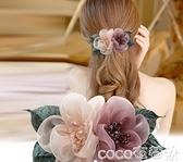 熱賣髮夾髮夾后腦勺布藝花朵馬尾夾子成年人女式髮卡彈簧夾髮飾頂夾頭飾女  coco