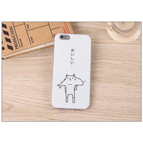 iPhone手機殼 日本插畫 吃了魚的貓 綠底草泥馬 磨砂軟殼 蘋果iPhone7/iPhone6/iPhone5手機殼