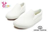 童休閒鞋 皮革 懶人鞋 台灣製造 直接套輕便鞋H8824#白色◆OSOME奧森童鞋