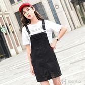 夏裝新款牛仔背帶裙韓版寬鬆學生半身裙 潮     瑪奇哈朵