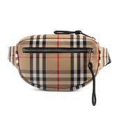 BURBERRY Vintage經典格紋帆布前口袋拉鍊腰包胸包(典藏米色)083248
