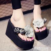 新款增高防滑坡跟厚底人字拖女夏季時尚高跟涼拖鞋外穿百搭韓版潮