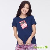 印花短袖T恤38海軍藍-bossini女裝
