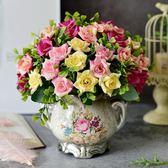 歐式仿真花絹花客廳家居干花束擺設插花塑料裝飾擺件盆栽餐桌mandyc