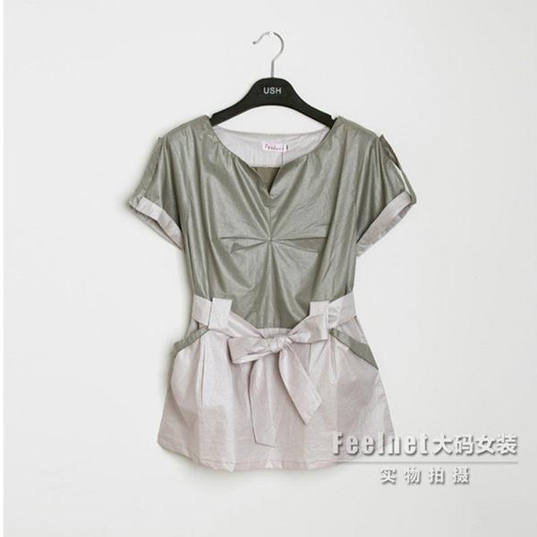 襯衫【9418】FEELNET中大尺碼女裝2048夏裝新款收腰拼接襯衣40-46碼