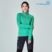 【西班牙TERNUA】女Power Stretch半門襟彈性保暖中層衣1206562 / 城市綠洲(Polartec、刷毛、透氣、快乾)