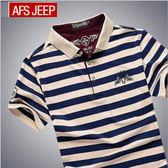 【美國熊】美式風格 簡約設計 精梳棉 完美觸感 徽章圖騰 條紋短袖POLO衫 有大尺碼 [AFS-53]