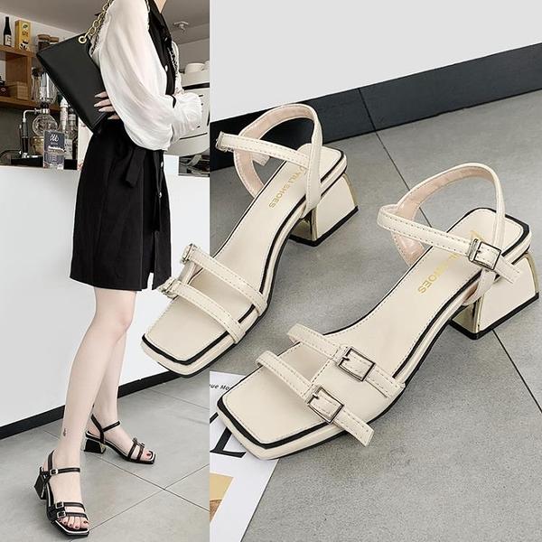 涼鞋女2021新款中跟粗跟百搭仙女一字帶高跟鞋搭裙子穿的鞋子夏季 8號店