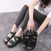 楔型厚底涼鞋 夏季新款魔術貼松糕百搭英倫風鞋子女露趾羅馬鞋《小師妹》sm2373