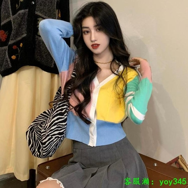 中大尺碼外套 韓版英倫風短款針織衫毛衣女長冬季2020新款袖菱格紋百搭上衣外套