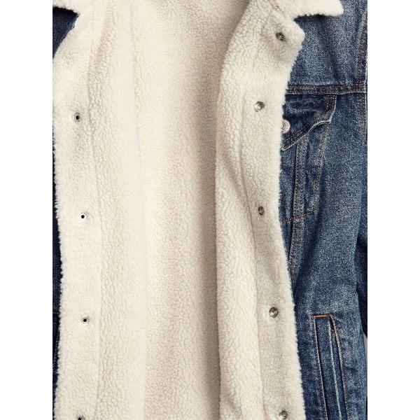 Gap男裝 人造羊毛絨襯裡直筒牛仔夾克 363676-中度水洗