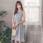 東京著衣【YOCO】氣質肩帶荷葉連身無袖洋裝-S.M.L(181364)