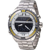 ALBA 雅柏 活力型男玩轉雙顯計時腕錶 N021-X003Y 銀 AZ4019X1