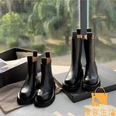 機車真皮馬丁靴女松糕煙筒中筒靴厚底切爾西短靴【慢客生活】