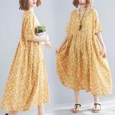 長裙 洋裝 適合女人穿的打底裙夏新款文藝中大尺碼 女裝mm寬鬆顯瘦連衣裙