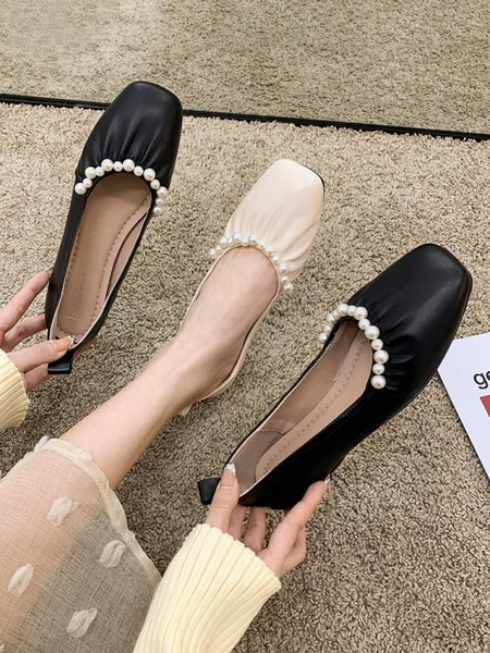 平底單鞋女2021年新款仙女溫柔春款珍珠春秋淺口軟底奶奶豆豆鞋夏 果果輕時尚
