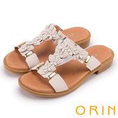 ORIN 夏日風情 花朵造型排列T字牛皮拖鞋-白色