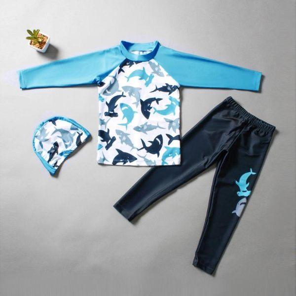 水母衣兒童泳衣男童分體中大童長袖長褲防曬潛水服速干小學生寶寶泳裝套聖誕狂歡好康八折