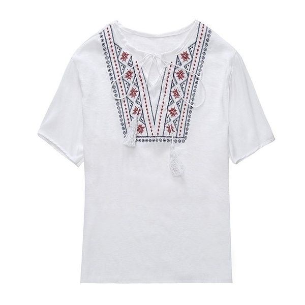 FINDSENSE G5 韓國時尚  夏季 清涼 短袖 休閒 舒適 刺繡 圓領
