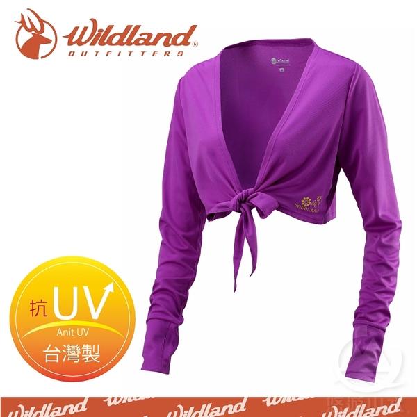 【Wildland 荒野 女 抗UV排汗綁帶袖套衣《葡萄紫》】W1805-58/吸濕排汗/快乾/防曬外套/單車休閒防曬衣