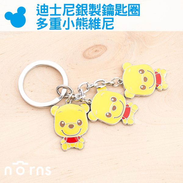 【迪士尼鐵片鑰匙圈 多重小熊維尼】Norns  Disney 正版 雜貨 吊飾 金屬 銀色 Winnie the Pooh