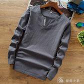 春秋季亞麻料t恤男長袖中國風復古寬鬆大碼棉麻布體恤男裝上衣服 店慶