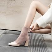 尖頭靴 尖頭短靴女2020年秋冬新款百搭高跟英倫風馬丁靴彈力瘦瘦粗跟襪靴(速度出貨)