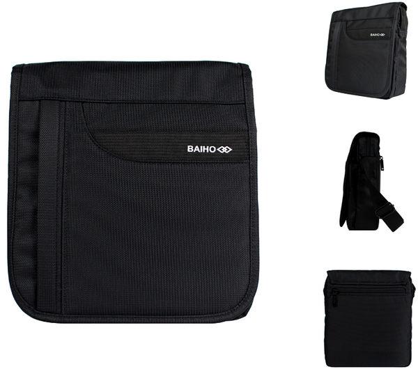 【橘子包包館】BAIHO 台灣製造 掀蓋直式 多功能 側背包/斜背包 BHO249 黑色