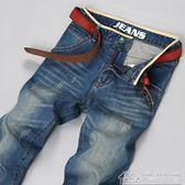 牛仔褲男破洞直筒潮牌流行青年寬鬆顯瘦復古休閒長褲子男 居樂坊生活館