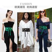 裝飾布腰帶女寬腰封綁帶束腰百搭配洋裝子襯衫日式黑色綠色刺繡  遇見生活