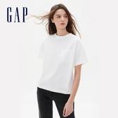 Gap女裝 休閒單口袋高克重汗布短袖T恤 629545-白色