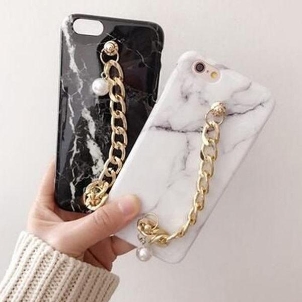 【SZ25】iPhone 7/8 plus手機殼 珍珠鏈條大理石紋iPhone7/8手機殼iPhone6s plus保護套全包軟殼