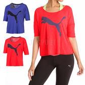 Puma LOGO 女 紅 藍 短袖T恤 短T 寬版 排汗透氣 訓練系列 51448001 51448002