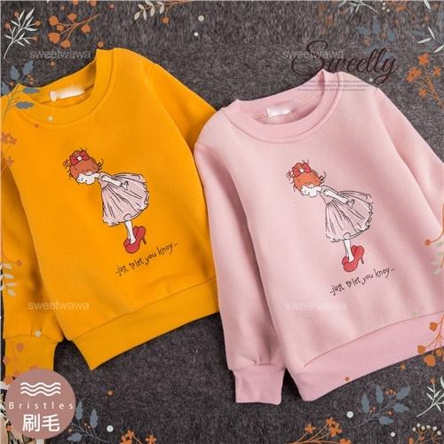 禦寒保暖~蝶結禮服女孩長袖上衣~2色(厚棉,內刷毛)(300624)【水娃娃時尚童裝】