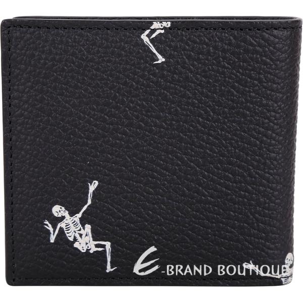 Alexander McQueen 跳舞骷髏頭牛皮八卡短夾(黑色) 1830286-01
