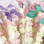 婚禮小物 500份-我的專屬吊牌棉花糖(5顆小花)(客製吊牌+贈蕾絲提籃1個) - 送客/二進 幸福朵朵