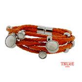 瑞士TRUeE 瑞時寶嘉 TSB16014真皮編織繩鋼手鍊
