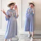 孕婦夏裝洋裝新款韓版大碼中長款刺繡哺乳裙短袖夏季孕婦裙艾美時尚衣櫥