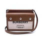 【台中米蘭站】全新品 BURBERRY Mini Horseferry牛皮拚帆布斜背包(8014611-米白/咖)
