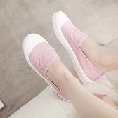 快速出貨 帆布鞋女 小白鞋百搭平底學生淺口休閒鞋