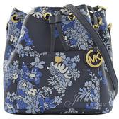 茱麗葉精品 全新精品  MICHAEL KORS Greenwich 花卉兩用水桶包.深藍