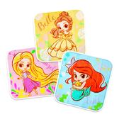 迪士尼公主系列小方巾 3件組 擦臉巾 小手帕 童巾