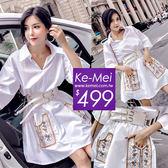 克妹Ke-Mei【ZT51716】泰國潮牌  波西渡假風電繡口袋立領襯杉式洋裝附腰帶