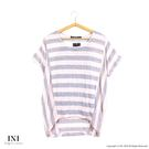 【INI】輕盈穿搭、簡單版型修飾條紋上衣.粉色