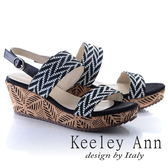 ★2018春夏★Keeley Ann設計美學~竹葉繩紋造型寬帶全真皮楔形涼鞋(黑色)