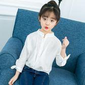 尾牙全館9折 女童襯衣2019新款上裝洋氣女孩白色襯衫兒童韓版秋季衣服時尚上衣